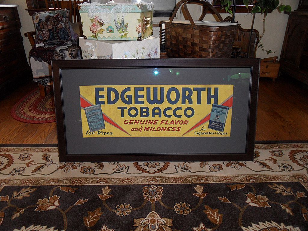 Vintage - 1935 Framed Cloth Lithograph - Edgewood Tobacco