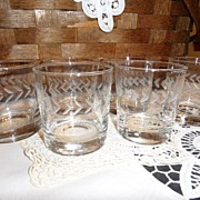 SALE Vintage - Etched Wheat - High Ball Glass