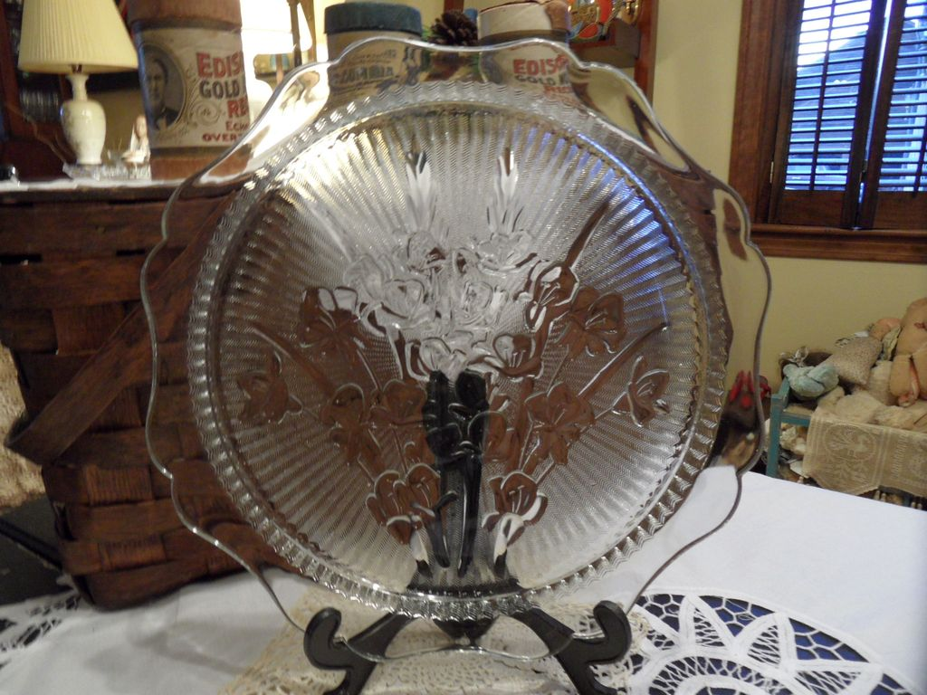 Vintage - Jeannette Glass Company - Cake Plate - Etched Glass