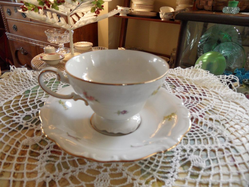 Vintage - Johann Haviland - Scalloped Edges Rosebud - Pedestal Cup and Saucer