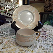 Antique - Limoges - Artist Signed - Tea Cup and Saucer