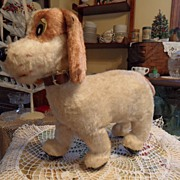 SALE Vintage - Furry Dog on Wheels - Made in Japan - 1950's
