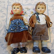 Vintage - Pair of Porcelain Dolls - 10""