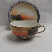 Antique - Nippon - Tea Cup and Saucer - Tree in Meadow
