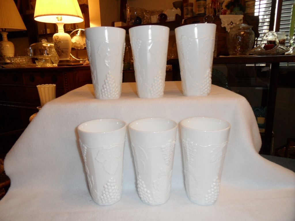 Vintage - Indiana Glass - Milk Glass, Harvest Pattern - Ice Tea Glass