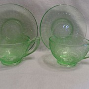 SALE Vintage - Depression Glass - Cups and Saucer - Green