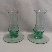 SALE Vintage - Depression Glass - Green - Pair of Candle Stick Holders