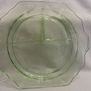 "Vintage - Depression Glass - Green - Grill Plate 11 1/2"" across"
