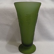 SALE Vintage - Vase - Olive Green - Grapes