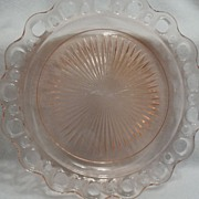 SALE Vintage - Depression Glass - Pink - Cake Plate 10""