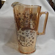 SALE Vintage - Orange Glass - Pitcher with Brown Decoration
