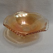 SALE Vintage - Carnival Glass - Orange - Bowl