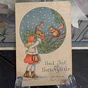 "SALE Antique - Postcard - ""God Jul!"" - Sweden - 1931 - 5 Ore Sverige"