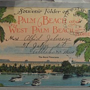 SALE Antique - Postcard - Souvenir Folder of Palm Beach and W. Palm Beach Florida