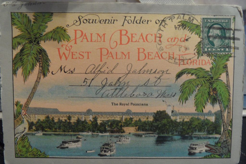 Antique - Postcard - Souvenir Folder of Palm Beach and W. Palm Beach Florida