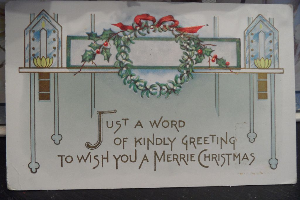 Antique - Postcard - Christmas - One Cent Washington Stamp - Offset