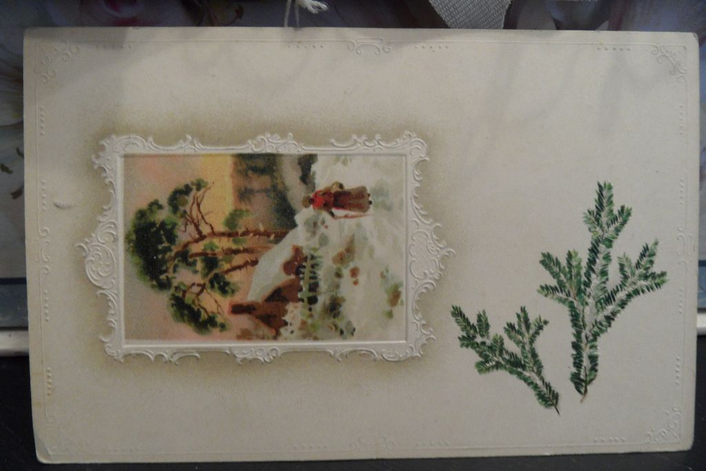 Antique - Postcard - Winter Scene - Made in Germany - One Cent Washington offset - Green