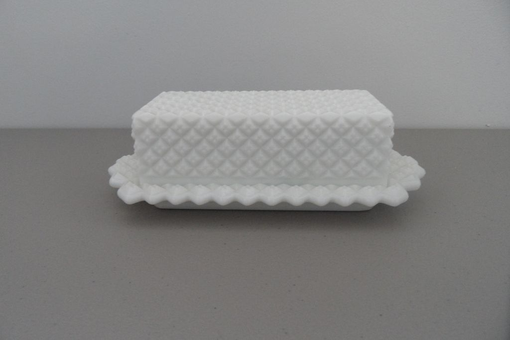 Vintage - Milk Glass - Butter Dish
