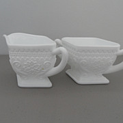 Vintage - Milk Glass - Creamer and Sugar
