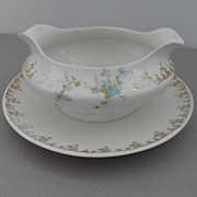 Vintage - WS George - Gravy Boat w/attached Underplate