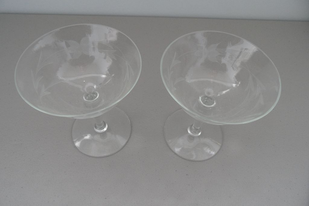Vintage - Margarita Glasses - Etched - Pair of Two