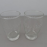 Vintage - Juice Glasses (2) - scrolled wheat