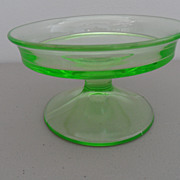Vintage - Depression Glass - Compote - Vaseline Green