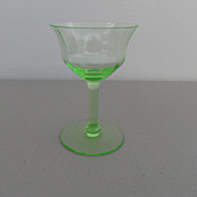 Vintage - Depression Glass - Wine Glass -  Green