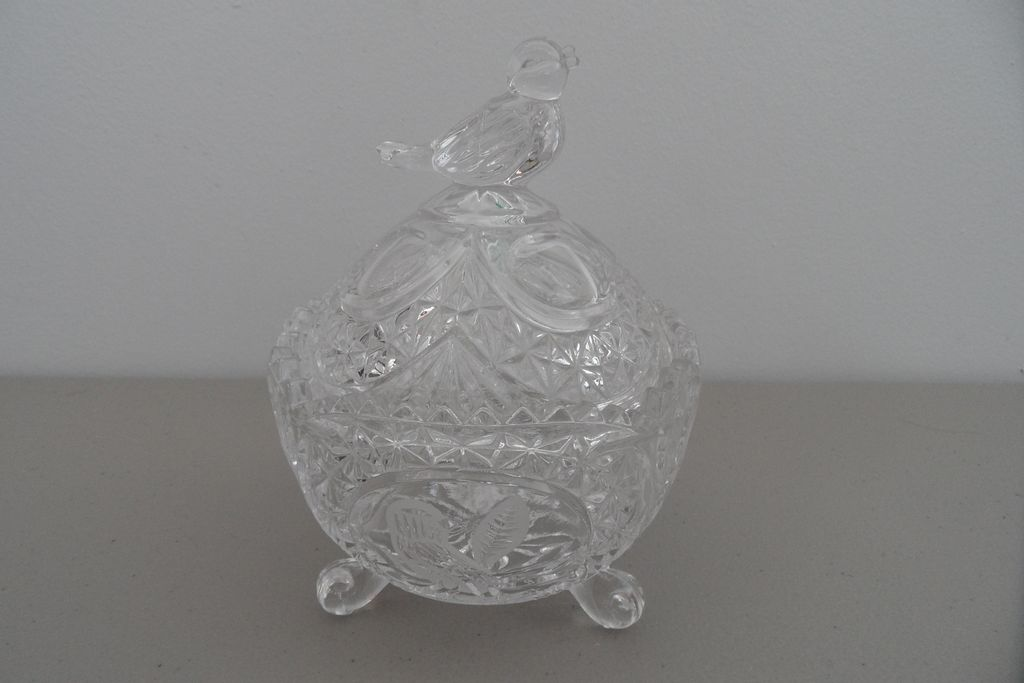 Vintage - Glass - Covered Sugar