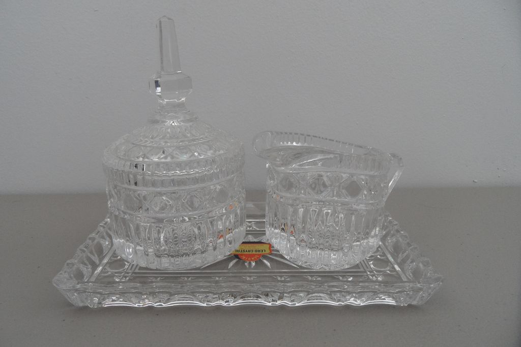 Vintage - Lead Crystal - Creamer/Sugar and Tray