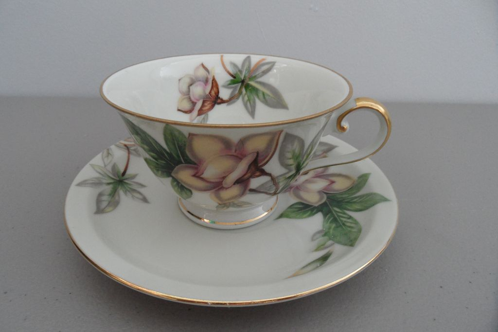 Vintage - Meito China - Woodrose - Footed Cup and Saucer