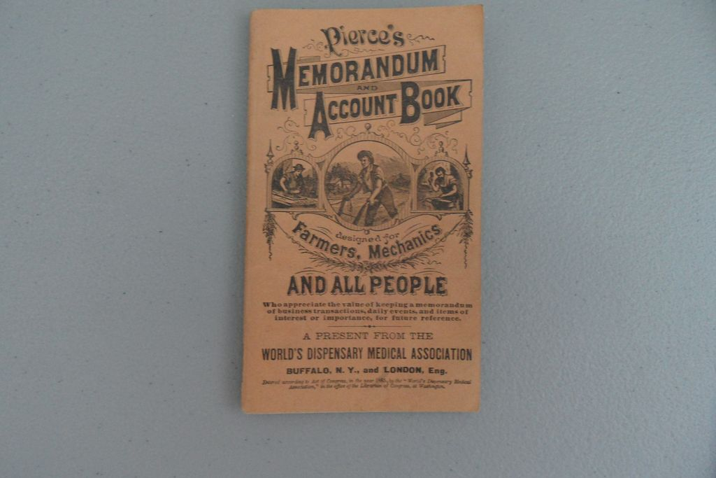 Antique - Pierce's Memorandum and Account Book - 1885
