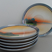 Vintage - Nippon Saucers - Tree in Meadow Design