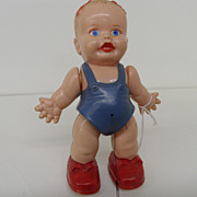 Vintage - Googly Eye Baby Girl Walk-A-Way Pull String Toy - Marx