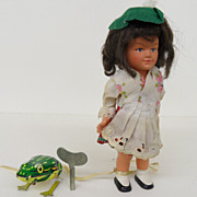 Vintage - Wind-up Doll and Wind-up Jumping Tin Frog       2 for 1!!