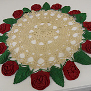 Vintage - Hand Crocheted Christmas Doily