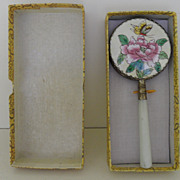 Vintage - Hand Mirror - Jade Handle