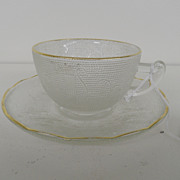 Vintage - Tea Cup and Saucer - Sandwich Glass