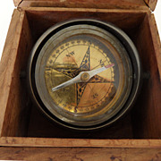 Vintage - Ships Compass - Wood and Brass Box