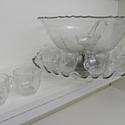 Vintage - Punch Bowl with Twelve Cups and Spoon - Swivels!