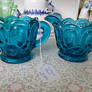 Vintage - Creamer and Sugar Set - Blue Glass