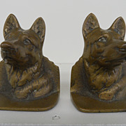 SOLD Vintage - Solid Bronze Book Ends - German Shepards