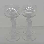 Vintage - Set of Four Crystal Wine Glasses - Dolphins
