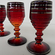 Vintage - Set of Three - Brandy Glasses - Amberina