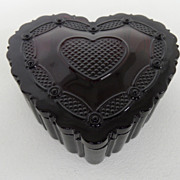 Vintage - Glass - Heart Trinket Dish - Avon - 1980's