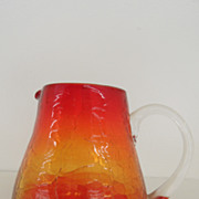 Vintage - Glass Pitcher - Amberina - Crackle Glass
