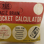 Vintage - The Magic Brain Pocket Calculator - No Batteries Required!