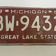 Vintage - License Plate - Michigan - 1969