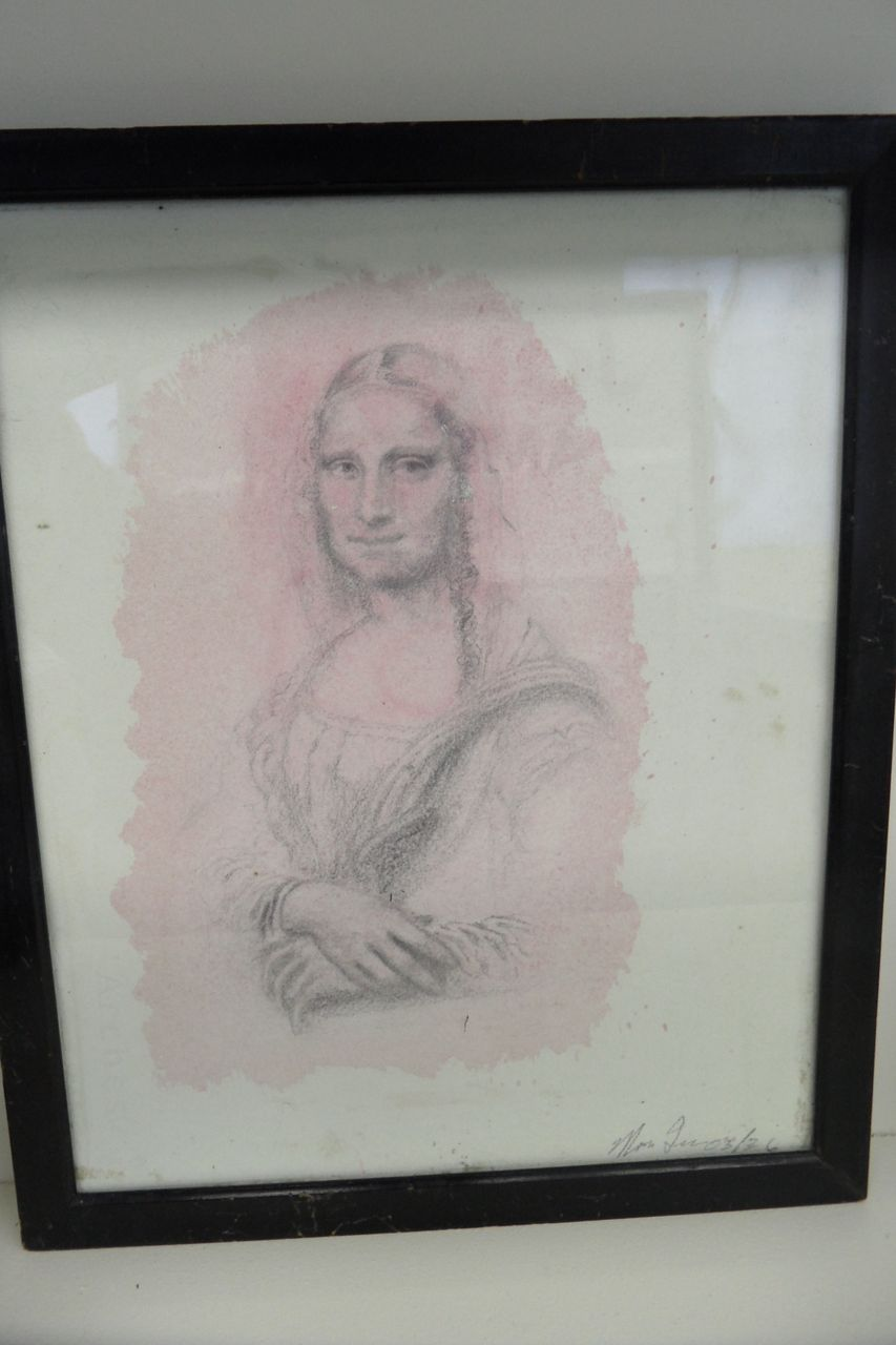 Vintage - Water Color and Penciled - Mona Lisa - 1936