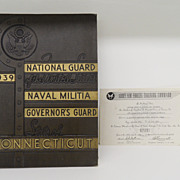 SOLD Vintage - 1939 National Guard Naval Militia Governor's Guard Connecticut
